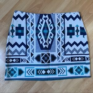 H&M Shades of Blues/White Tribal Patterned Skirt